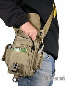 Maxpedition Thermite Versipack - idealy used as a leg drop platform --This multi-functional bag was designed either to be worn on the waist with a supporting leg strap or shoulder slung.