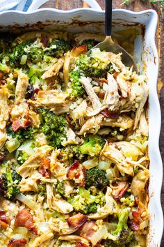 "Paleo Chicken Broccoli ""Rice"" Casserole {Whole30, Keto} This creamy paleo chicken, broccoli, and rice casserole is packed with flavor, filling ad healthy! It's Whole30 compliant, keto, dairy free and perfect to make ahead of time for easy healthy paleo lunches and dinners."