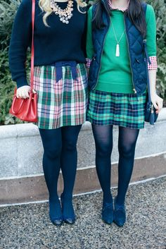 Prep perfect plaid skirt and sweater ensembles. #fashion #outfit #inspiration