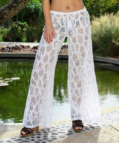 Loving this White Lace Pants - Women on #zulily! #zulilyfinds