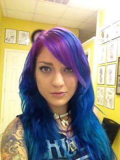 Blue and fushia hair color