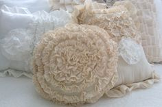 Baby Blue Soft Ruffled Round Rosette Pillow by shabbychatue, $30.00