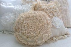 Creamy Tan Ruffled Round Rosette Pillow