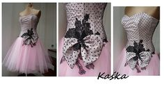 Kaśka Black and pink prom dress  dots Tulle by AtelierArtistia