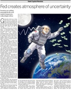 Ben Bernanke in Space. portrait of the Chairman of the Federal reserve for the Financial Times.