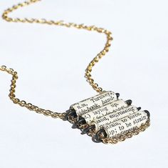 Paper Bead Jewelry - French Dictionary Black & White Paper Bead Necklace