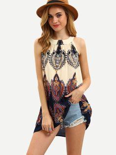 Multicolor Print Sleeveless Bow Blouse