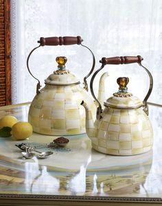 Parchment Check Tea Kettles are so beautiful! All hand painted and no two alike!