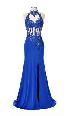 Blue Trumpet/Mermaid Halter Sleeveless Natural Stretch Satin Prom Dresses,Long prom dress,Glamorous prom dress