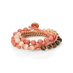 Bead and Ribbon Multi Wrap Bracelet -- Pink and Brown / Gold --   Lori White's Boutique - forest, Virginia | Chloe + Isabel