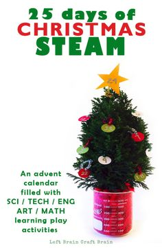 Your kids love Science, Technology, Engineering, Art or Math? This Christmas STEAM advent calendar filled with 25 days of learning activities is for them!