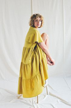 Ruffled crinkled cotton dress in a beautiful chartreuse yellow. This flowing cotton dress is perfect for summer. #summerfashion #summeroutfit