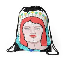 Divided Woman Face Portrait Drawstring Bags