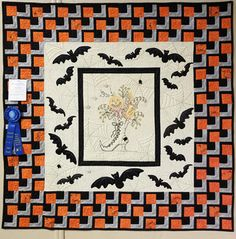 Boo 2016 by Debra Ramsey 56 x The second version of this pattern by Crabapple Hill, this one was given to my son. It has a more modern setting and is a little larger with an additional boarder of bats added. Crabapple Hill, Halloween Quilts, Award Winner, Special Events, Two By Two, Blanket, Sewing, Bats, Larger