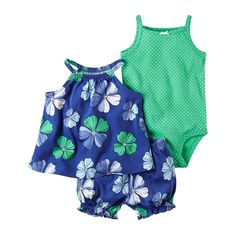 Baby Girl Carter's Floral Tank Top, Bubble Shorts & Polka-dot Bodysuit Set, Size: 24 Months, Med Blue