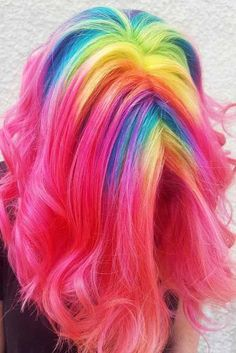Best Hairstyles & Haircuts for Women in 2017 / 2018 : 21 Rainbow Hair Styles to Look Like a Unicorn Medium Hair Length with the Ra Pretty Hair Color, Beautiful Hair Color, Pelo Multicolor, Medium Hair Styles, Long Hair Styles, Bright Hair, Colorful Hair, Hair Dye Colors, Rainbow Hair Colors