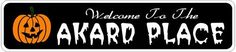 AKARD PLACE Lastname Halloween Sign - 4 x 18 Inches by The Lizton Sign Shop. $12.99. Aluminum Brand New Sign. 4 x 18 Inches. Rounded Corners. Predrillied for Hanging. Great Gift Idea. AKARD PLACE Lastname Halloween Sign 4 x 18 Inches - Aluminum personalized brand new sign for your Autumn and Halloween Decor. Made of aluminum and high quality lettering and graphics. Made to last for years outdoors and the sign makes an excellent decor piece for indoors. Great for the porch or e...