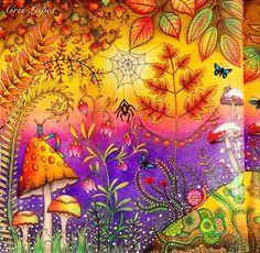 WEBSTA @ crislopez745 - Floresta Encantada - Usei lápis de cor Giotto em praticamente tudo. #giotto #florestaencantada #coloringbook #colors #ginapafiadache #carolpafiadache #johannabasford