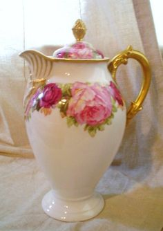 Limoges Chocolate Pot - circa 1897-1900. Roses and Gold! It could be used as a coffee pot. Gold is stunning on this pot. This is a beautiful Li