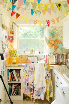 Bright colorful bunting makes this creative space happy! alisaburke: in the studio with sara torbett