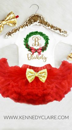 My First Christmas Outfit Baby Girl 1st Christmas Dress Baby Girl Christmas Outfit Girl 1st Christmas Outfit Newborn Personalized Christmas