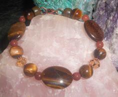 Tiger Eye and Crystal Beaded Bracelet by TrendyCharm on Etsy, $10.00