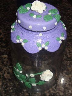 maybe polymer clay covered lid and around jar..