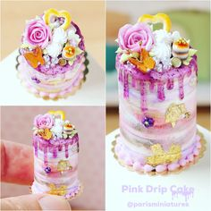 Semi nude pink drip cake - 1/12 scale miniature