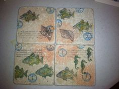 By the Tide stamped coasters. These turned out fabulous. DIY project--Stampin Up