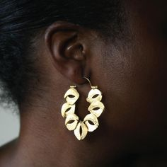 Sculptured Organic Reticulated Gold Hoop Earring | Wild Gold Collection | Linga Nigra Jewelry Design for Body Adornment