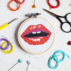 Read My Lips Mini Cross Stitch Kit by The Make Arcade, the perfect gift for Explore more unique gifts in our curated marketplace. Mini Cross Stitch, Cross Stitch Needles, Modern Cross Stitch, Cross Stitch Kits, Cross Stitch Patterns, Arcade, Craft Kits, Craft Projects, Stitch Witchery