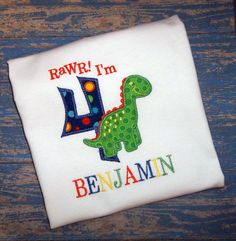 Applique Dinosaur Birthday with Age Monogrammed T Shirt or Onesie, Custom Personalized Monogram Embroidered Dino on Etsy, $24.00