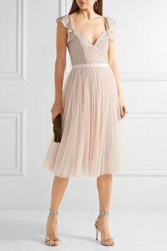 Pastel-pink georgette and tulle  Concealed zip fastening along back 100% nylon; trim: 100% polyester; lining: 100% polyester Dry clean Designer color: Petal Pink Imported
