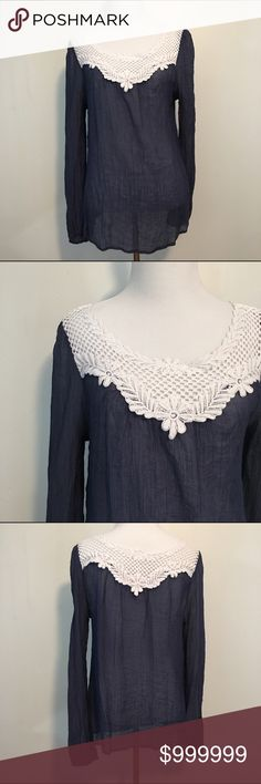 Double Zero Navy blouse Navy long sleeve wuth white lace collar. Semi sheer. Size M.. Item may appear darker than actual color. Double Zero Tops Blouses