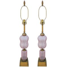 Gorgeous Pair of Pink Murano / Venini Lamps | From a unique collection of antique and modern table lamps at https://www.1stdibs.com/furniture/lighting/table-lamps/