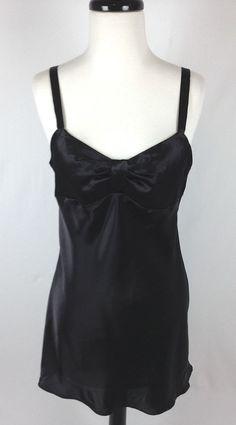 Victorias Secret Nightie NWT Black Satin Nightgown Lingerie Womens S #VictoriasSecret #BabydollChemise