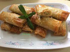 Ρολάκια με γαρίδες, πιπεριά, τυρί, μυρωδικά και σουσάμι Seafood, Sausage, Chicken, Meat, Cooking, Life, Recipes, Sea Food, Kitchen