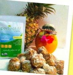 Orange Protein Balls! Shared by Stephanie! 1/2 cup dried pineapple, 1/2 cup dates, 3/4 cup macadamia nuts, 1/2 cup shredded coconut, 1 scoop vanilla Perfect Fit Protein, 1/2 zest of 1 orange, and juice from 1 orange. Blend dates and pineapple. Blend nuts. Mix together and add remaining ingredients. Roll into balls. Freeze and take to the beach! Clean Eating Recipes, Eating Healthy, Healthy Food, Snack Recipes, Cooking Recipes, Snacks, Perfect Fit Protein, Healthy Desserts, Healthy Recipes