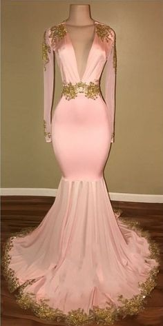 Sexy Mermaid Prom Dresses Deep V-Neck Long Sleeves Gold Appliques Evening Gowns Pink Evening Dress, Lace Evening Gowns, Long Sleeve Evening Dresses, V Neck Prom Dresses, Prom Dresses 2018, Prom Dresses For Sale, Mermaid Prom Dresses, Dress Long, Sexy Dresses