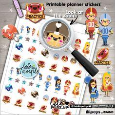Football Stickers, Printable Planner Stickers, Football Practice, Erin Condren, Kawaii Stickers, Planner Accessories, American Football