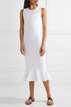 Opening Ceremony - Drop Lotus Fluted Stretch-matelassé Midi Dress - White - x small