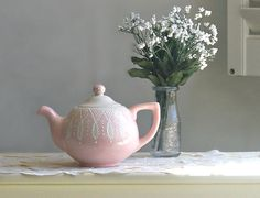 Pink Lace Teapot   Pink Lace Tea Pot  Hand by TheBabyHandprintCo