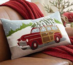 Woody Car Crewel Embroidered Lumbar Pillow Cover