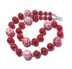 Samunnat+and+Kazuri+Bead+Necklace+Red+and+by+lizbriggsdesigns