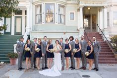 Navy blue themed wedding, bridal party in San Francisco by San Francisco Wedding Photographer TréCreative  trecreative.com