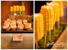 Couples shower - BBQ theme    Sliders, Corn on the Cob, Baked Beans, French Fries and S'mores