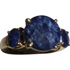 Sapphire Sterling Vermeil Ring size 7 from musibows on Ruby Lane
