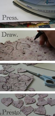 Make your own seed paper for hearts, gift tags, and other fun uses. Consider using herb seeds such as dill instead of flower seeds.