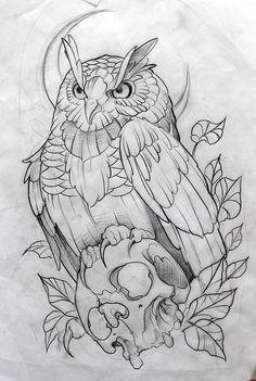 Desenho by Fredão Tatto Drawings – Top Fashion Tattoos Owl Tattoo Drawings, Pencil Art Drawings, Bird Drawings, Art Drawings Sketches, Animal Drawings, Stencils Tatuagem, Tattoo Stencils, Owl Tattoo Design, Tattoo Designs