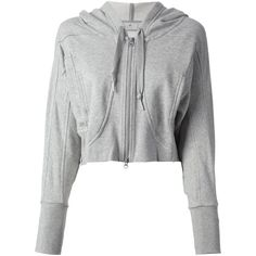 ADIDAS BY STELLA MCCARTNEY cropped hoodie ($130) ❤ liked on Polyvore featuring tops, hoodies, jackets, outerwear, crop top, cropped hoodie, cropped hooded sweatshirt, grey cropped hoodie, grey hoodie and cotton hoodies